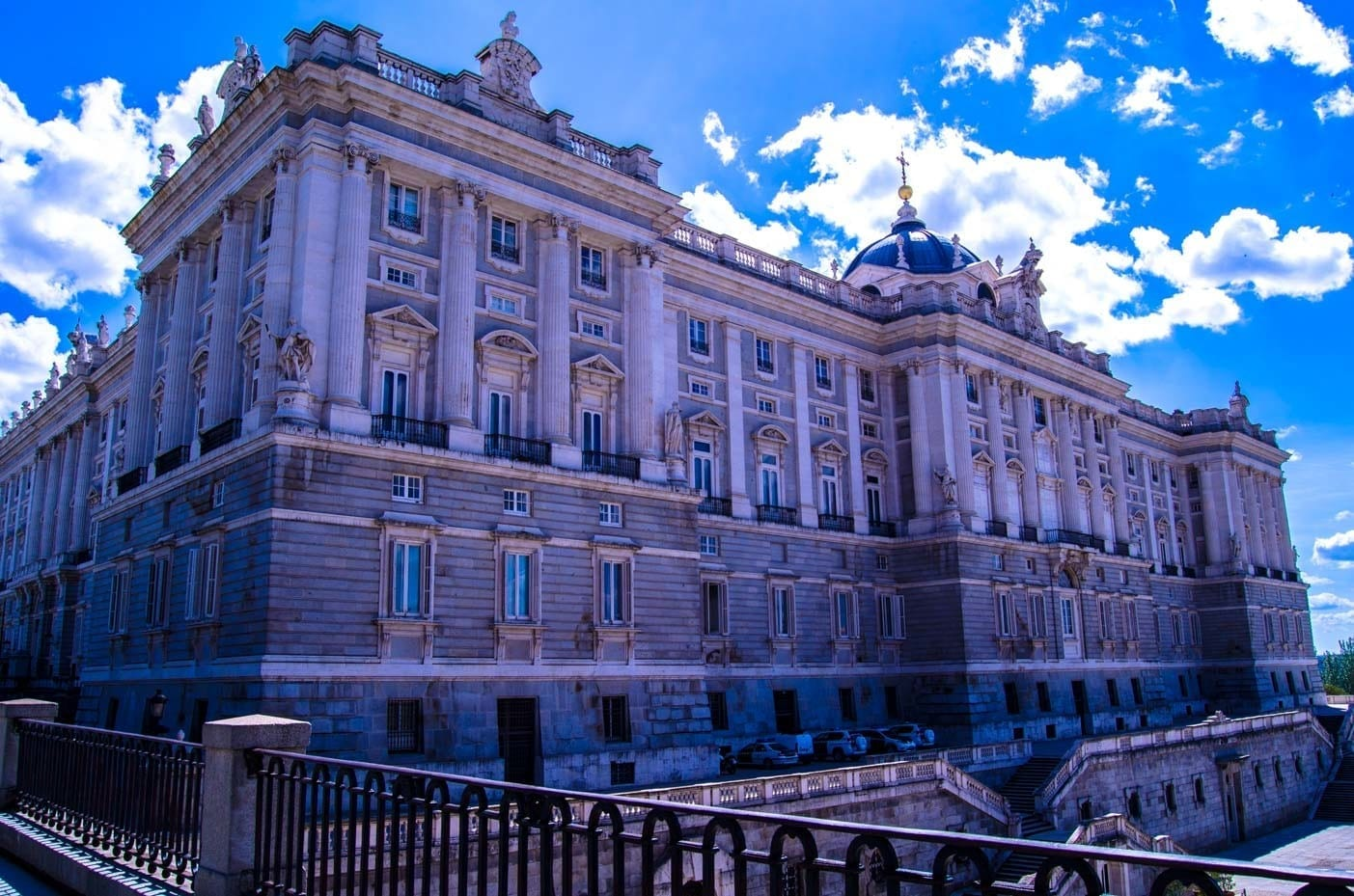 Madrid Royal Palace side view Bailen street